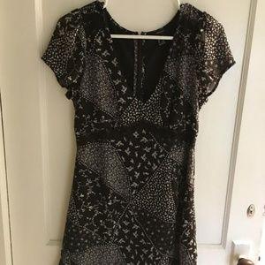 Black V-Neck Paisley Mini Dress